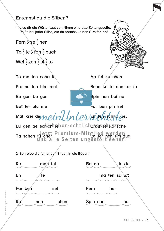 """Lese - Rechtschreibschwäche (LRS) - Schwingen - Einführung: """"Silben und Selbstlaute"""" - Aufgaben Preview 7"""