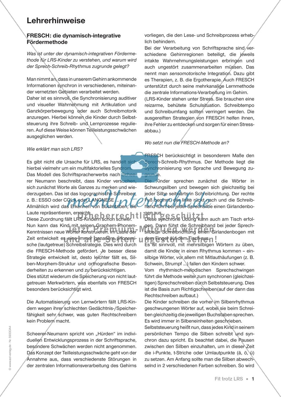 FRESCH-Strategie 1 - Schwingen (Einführung): Arbeitsbögen (komplett ...