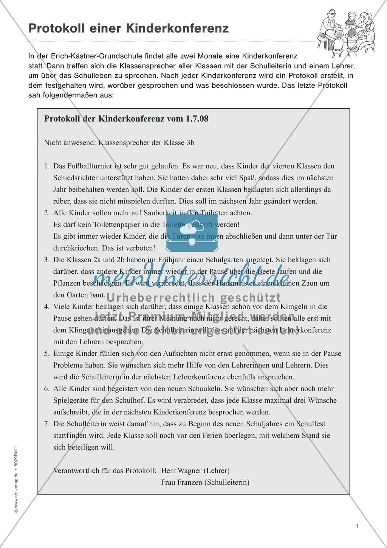 """Sachtexte verstehen: """"Die Kinderkonferenz"""" - Lesetext + Aufgaben + Lösungen Preview 1"""