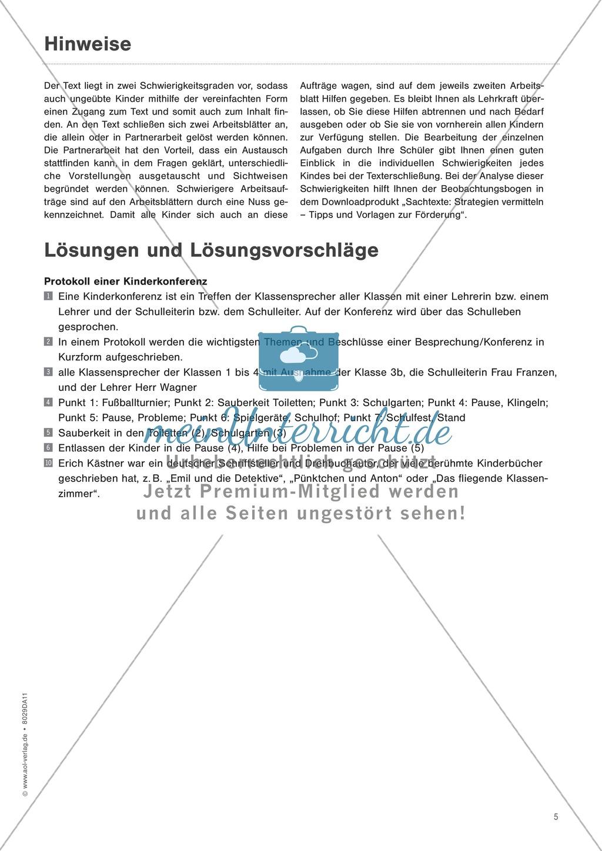 """Sachtexte verstehen: """"Die Kinderkonferenz"""" - Lesetext + Aufgaben + Lösungen Preview 5"""
