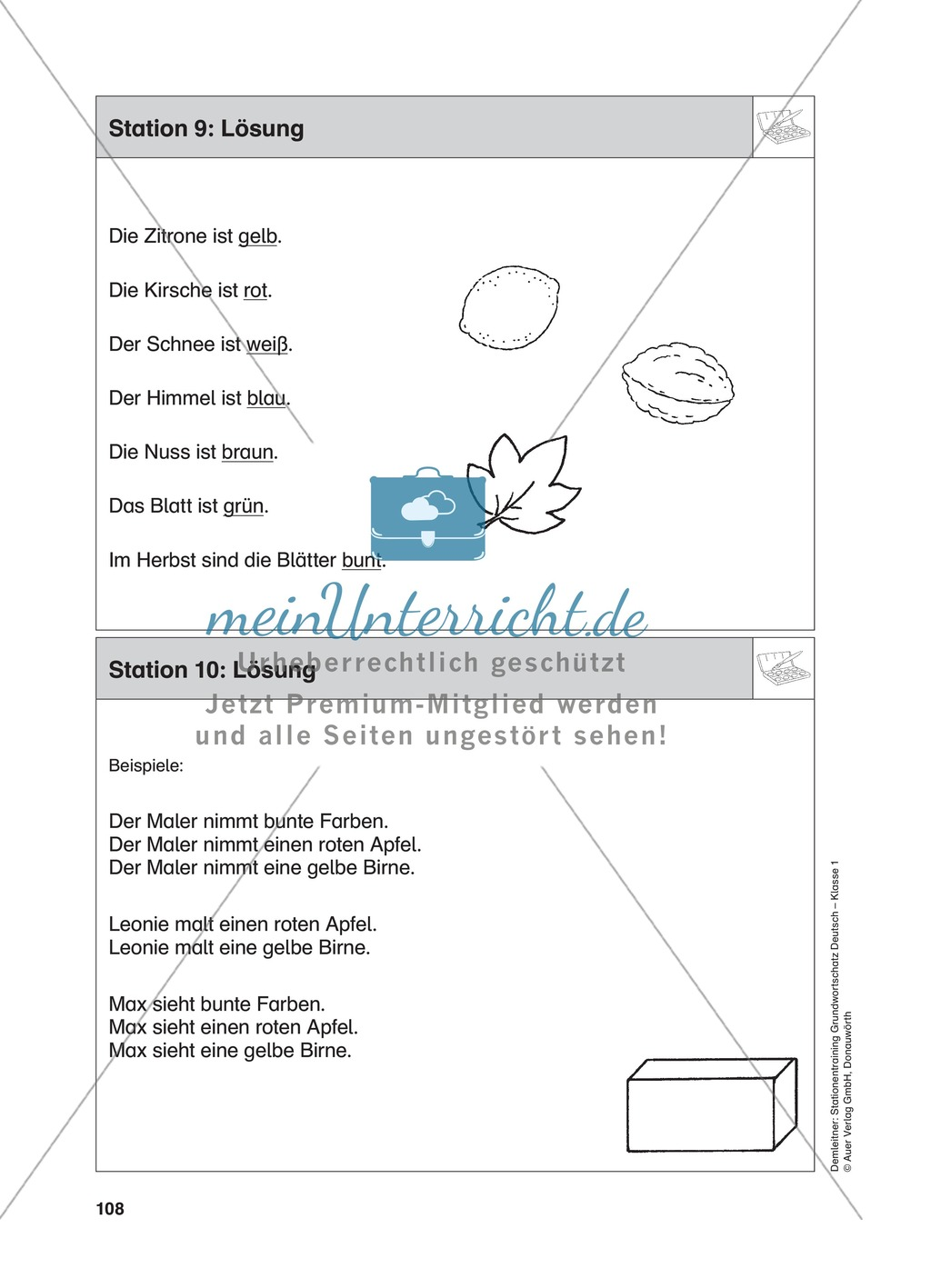 Stationentraining Farben: Arbeitsblätter mit Lösungen, Diktat Preview 10