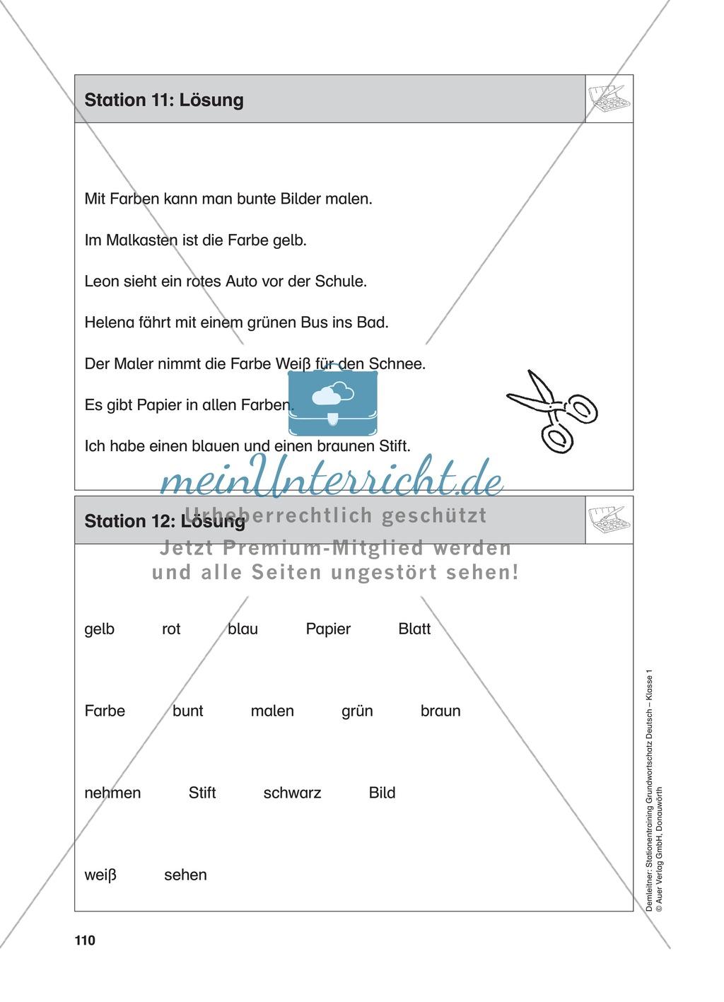 Stationentraining Farben: Arbeitsblätter mit Lösungen, Diktat ...