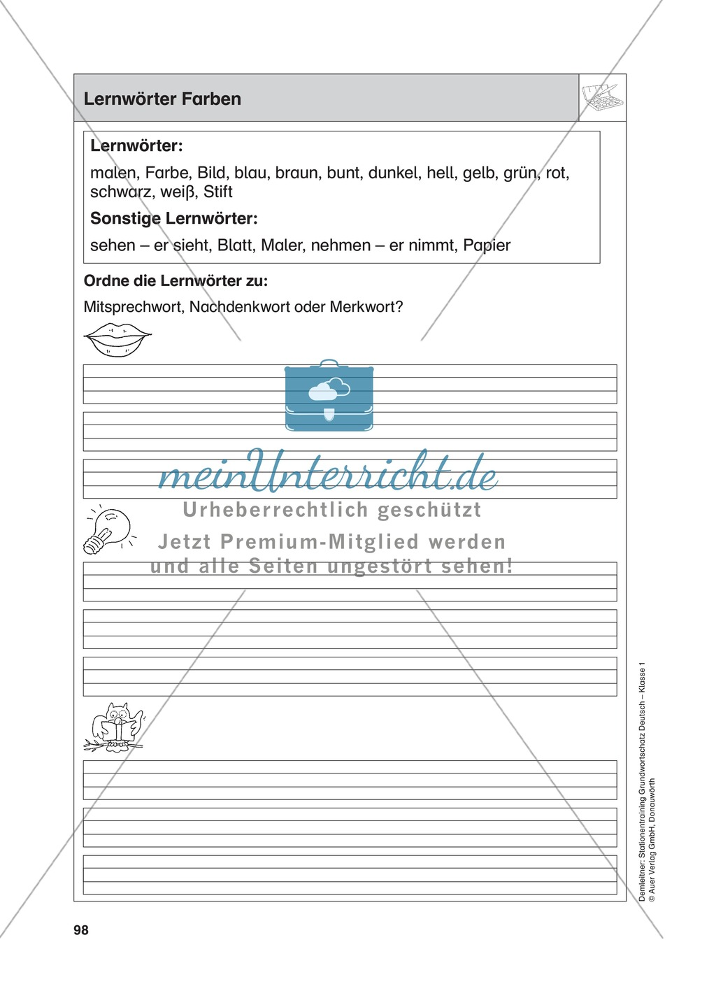 Stationentraining Farben: Arbeitsblätter mit Lösungen, Diktat Preview 1