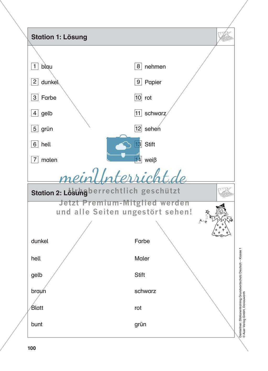 Stationentraining Farben: Arbeitsblätter mit Lösungen, Diktat Preview 2