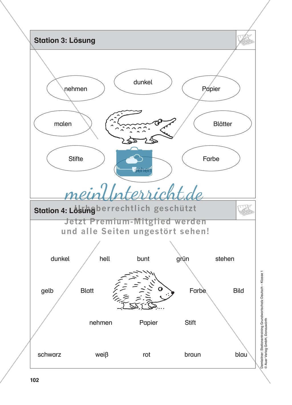 Stationentraining Farben: Arbeitsblätter mit Lösungen, Diktat Preview 5