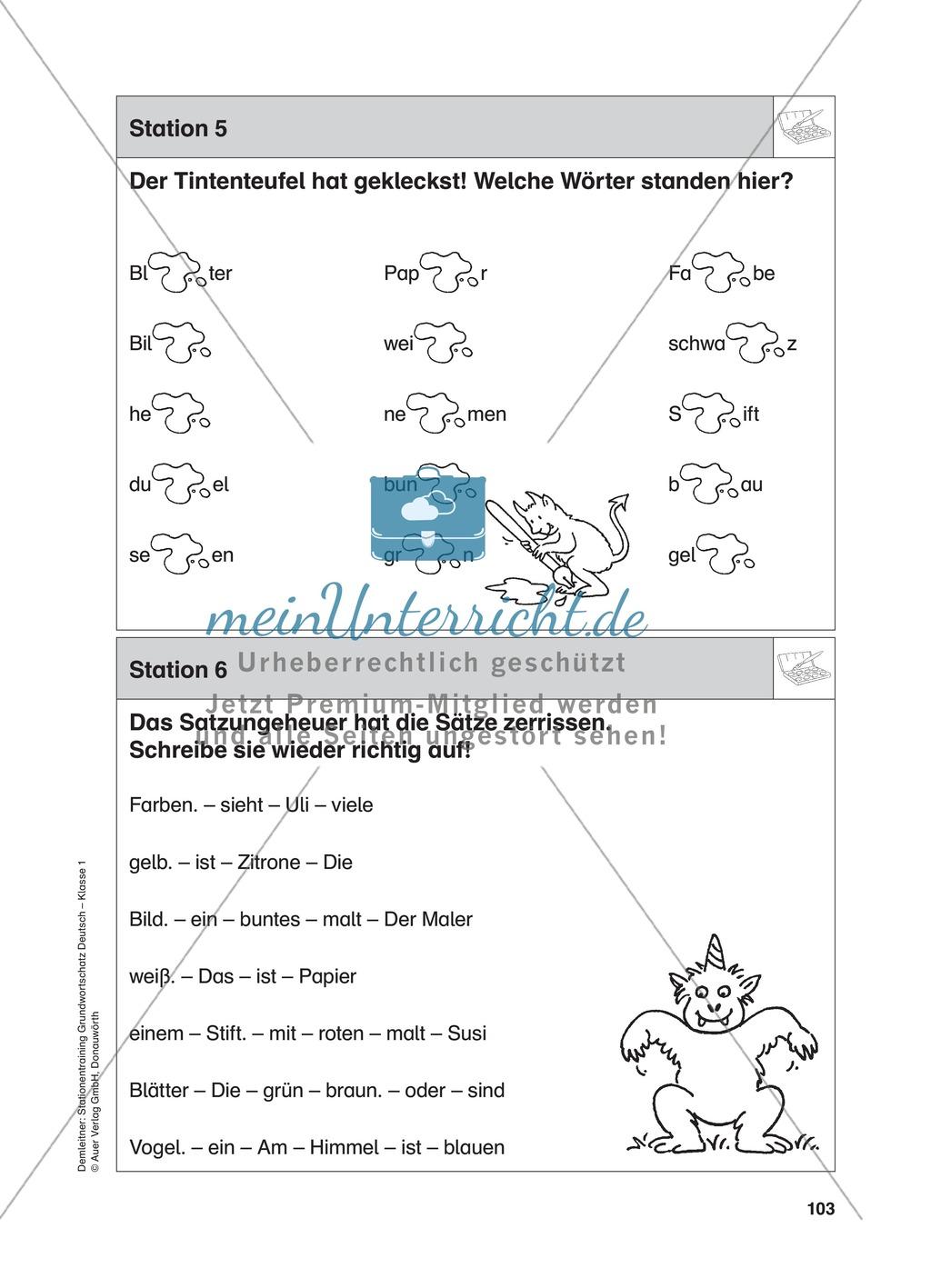 Stationentraining Farben: Arbeitsblätter mit Lösungen, Diktat Preview 6
