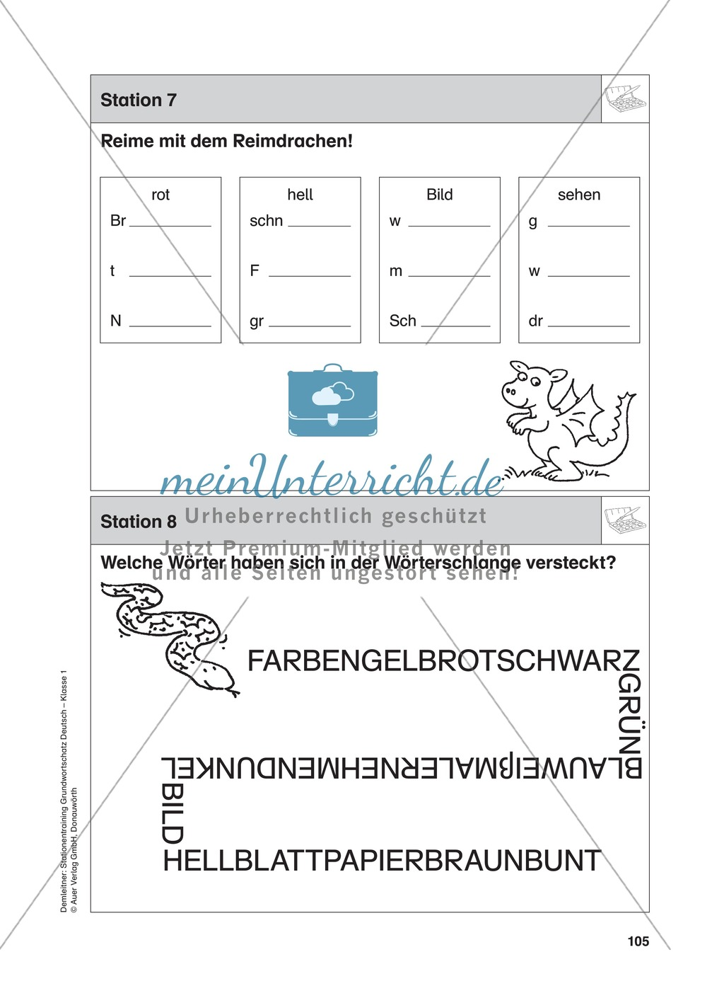 Stationentraining Farben: Arbeitsblätter mit Lösungen, Diktat Preview 8