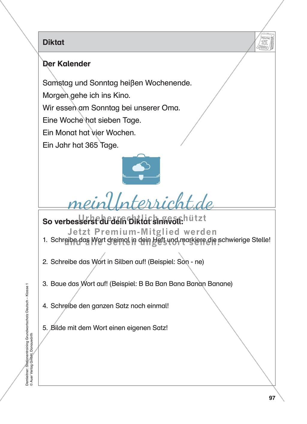 Stationentraining Kalender: Arbeitsblätter mit Lösungen, Diktat Preview 14