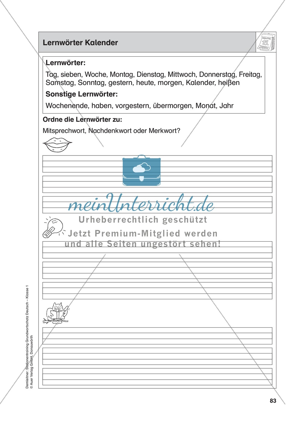 Stationentraining Kalender: Arbeitsblätter mit Lösungen, Diktat Preview 0