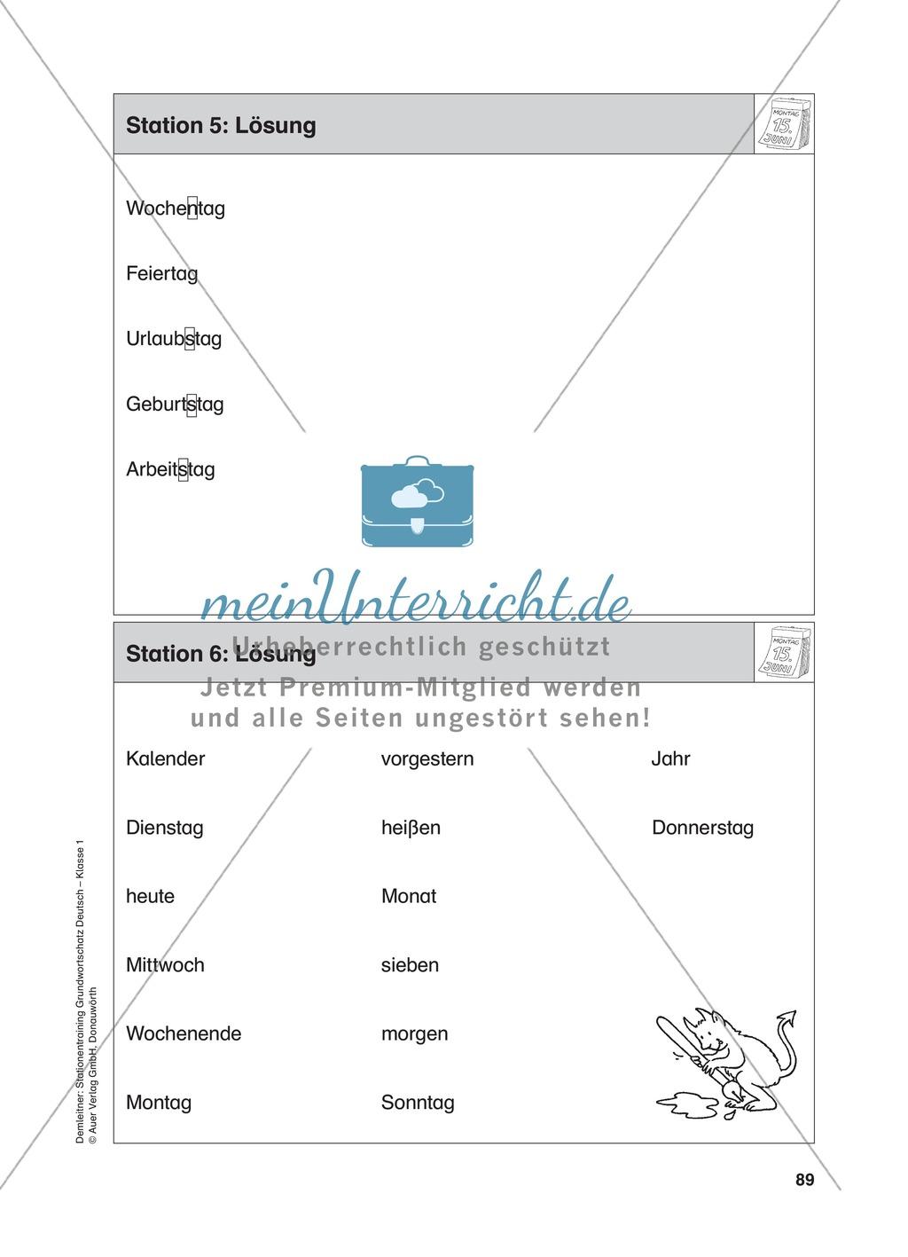 Stationentraining Kalender: Arbeitsblätter mit Lösungen, Diktat Preview 6