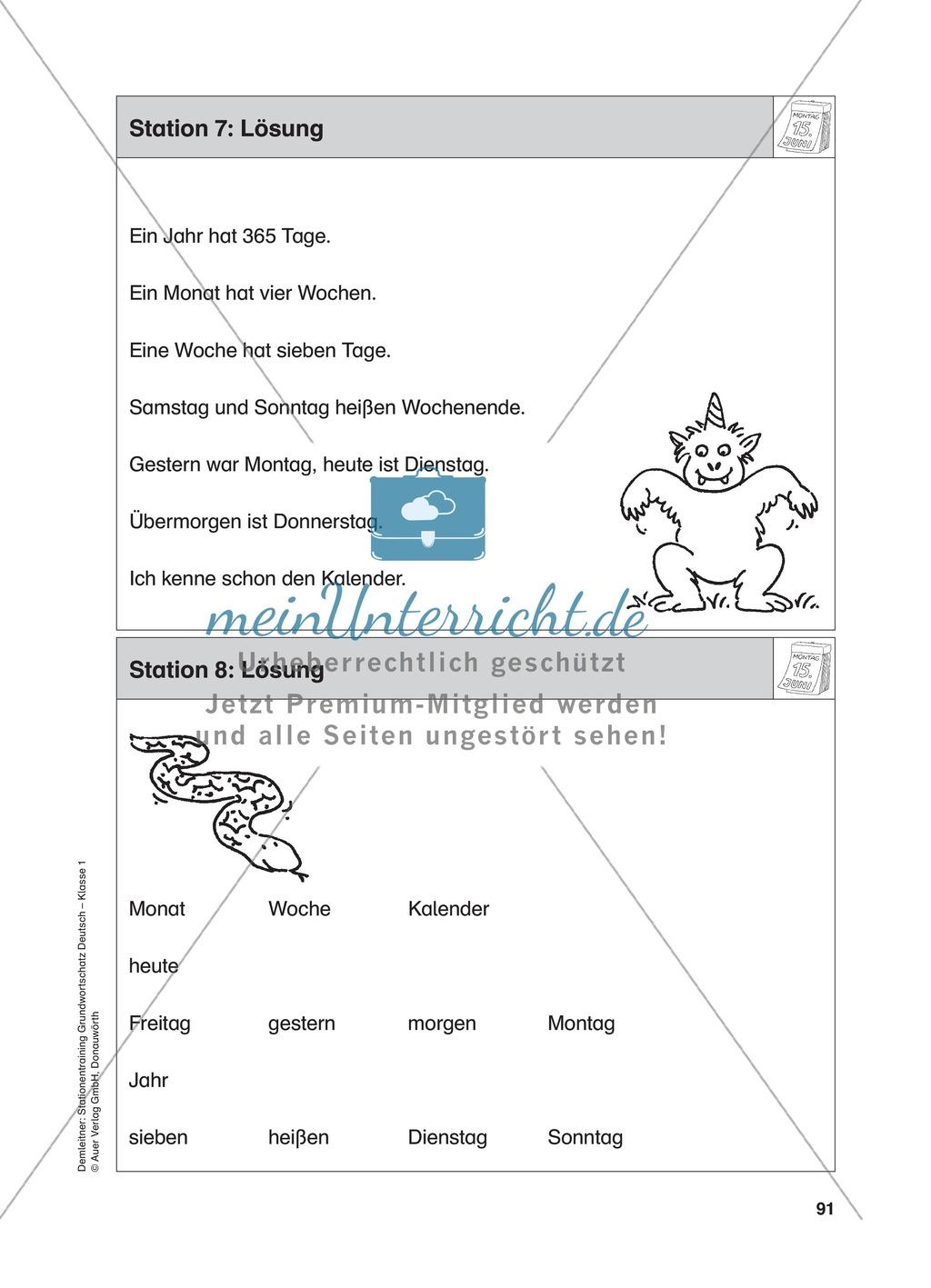 Stationentraining Kalender: Arbeitsblätter mit Lösungen, Diktat Preview 8
