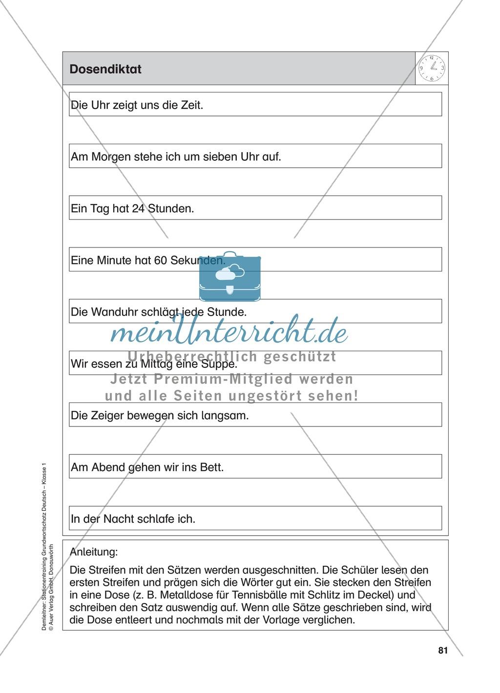 Stationentraining Uhr: Arbeitsblätter mit Lösungen, Diktat Preview 13