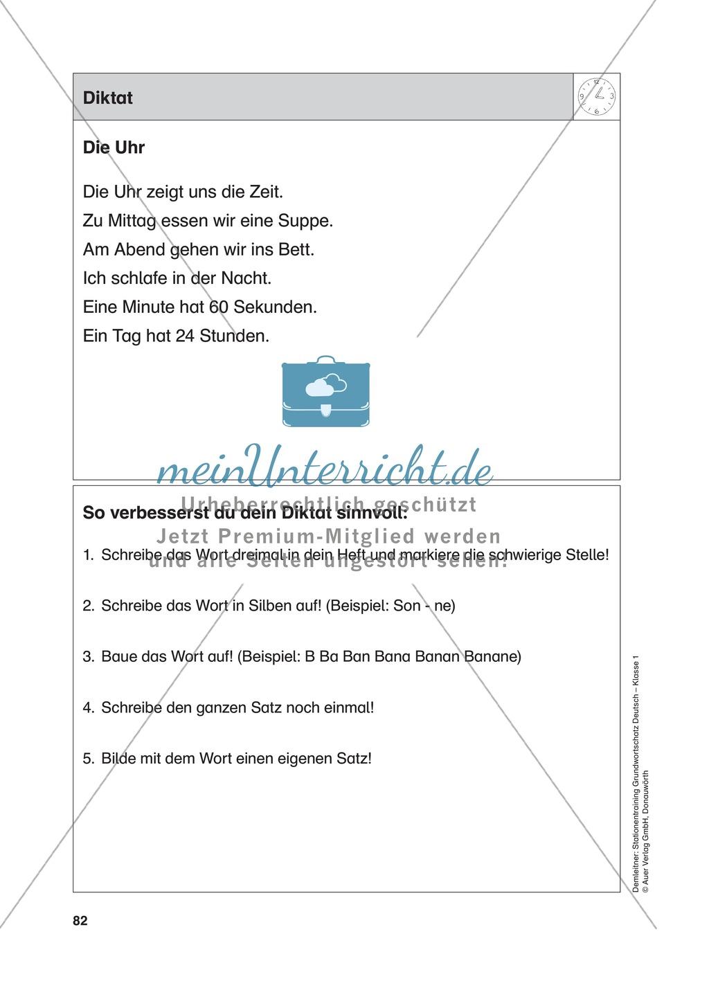 Stationentraining Uhr: Arbeitsblätter mit Lösungen, Diktat Preview 14