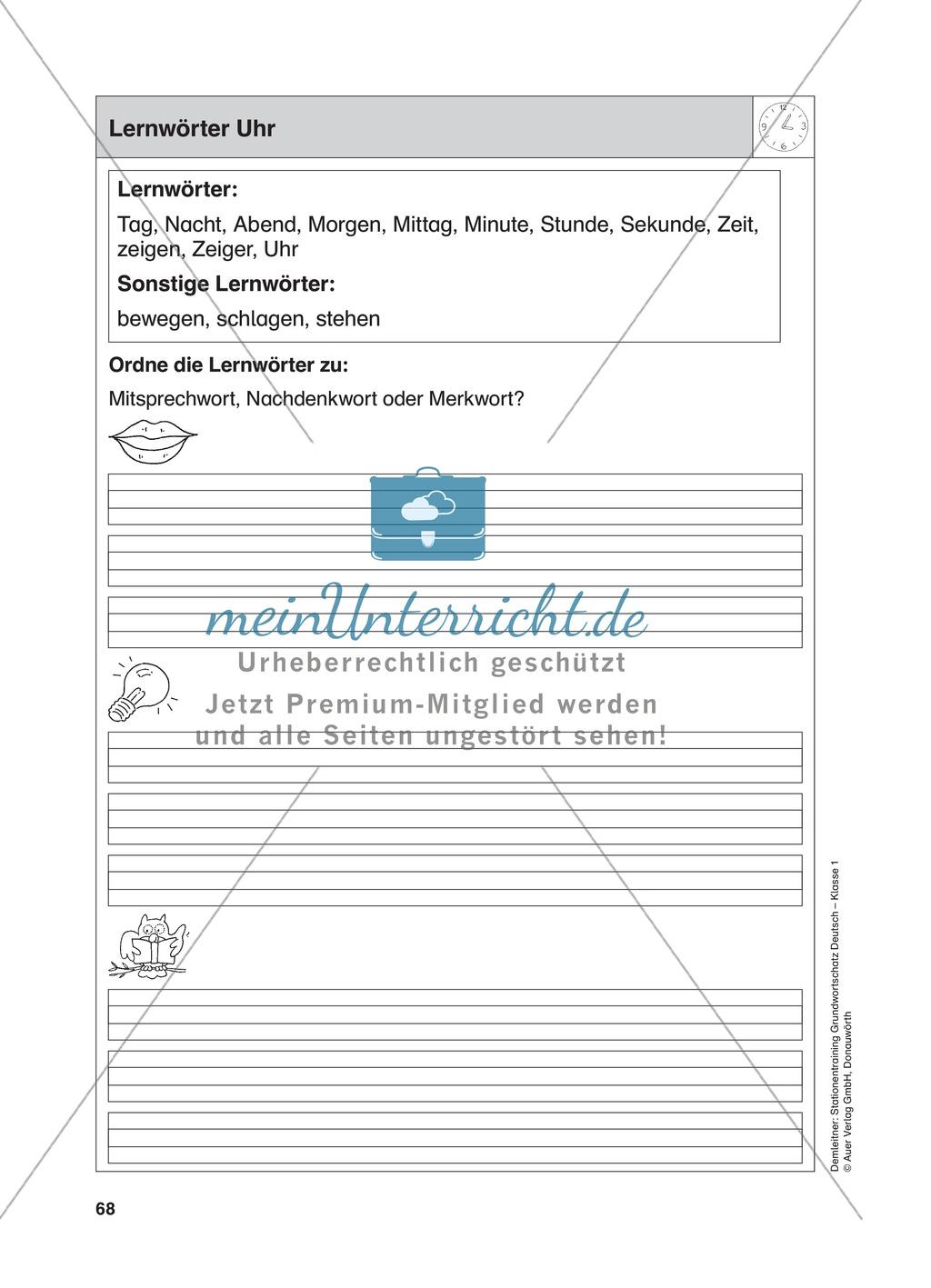 Stationentraining Uhr: Arbeitsblätter mit Lösungen, Diktat Preview 0