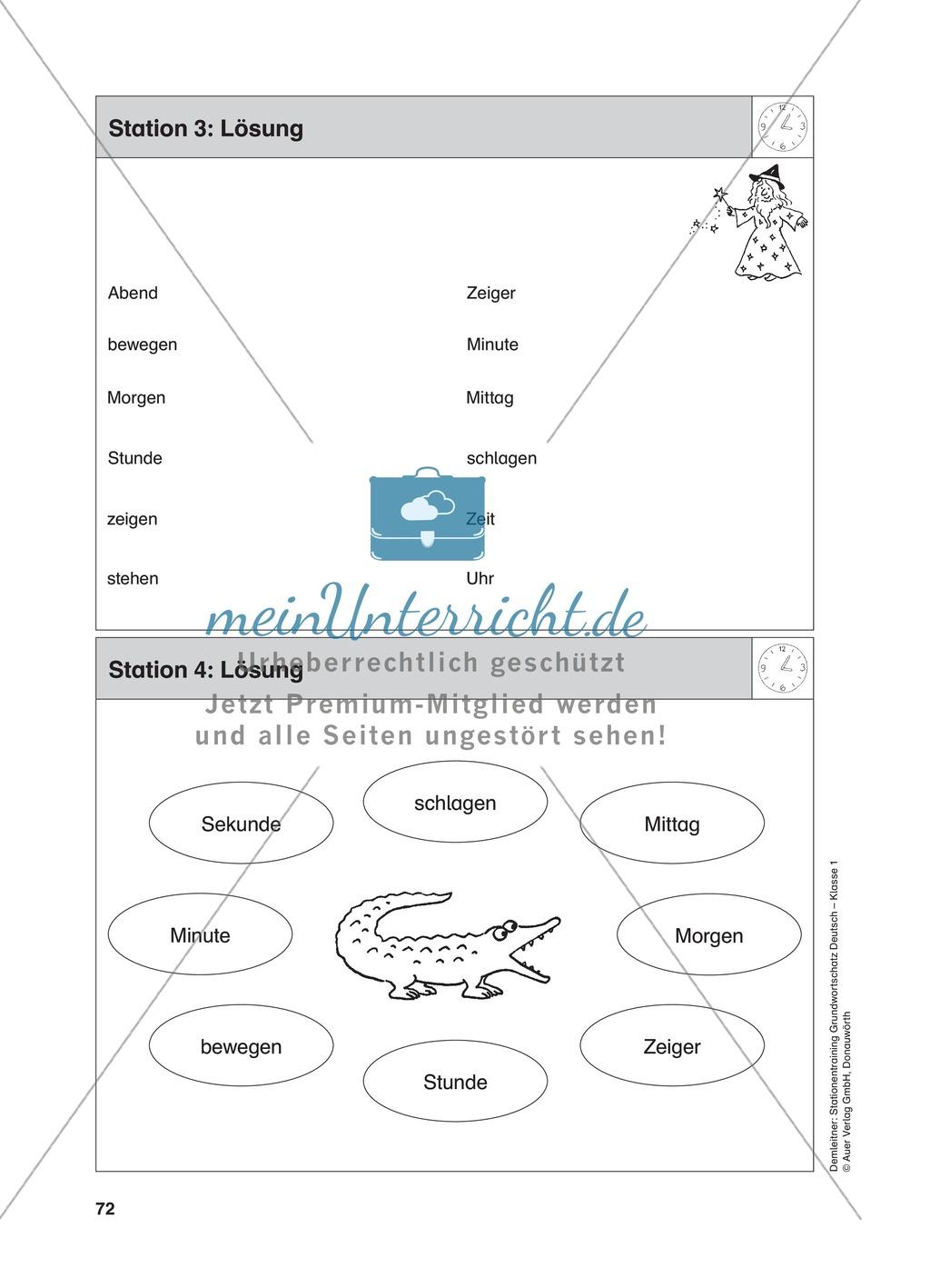 Stationentraining Uhr: Arbeitsblätter mit Lösungen, Diktat Preview 4