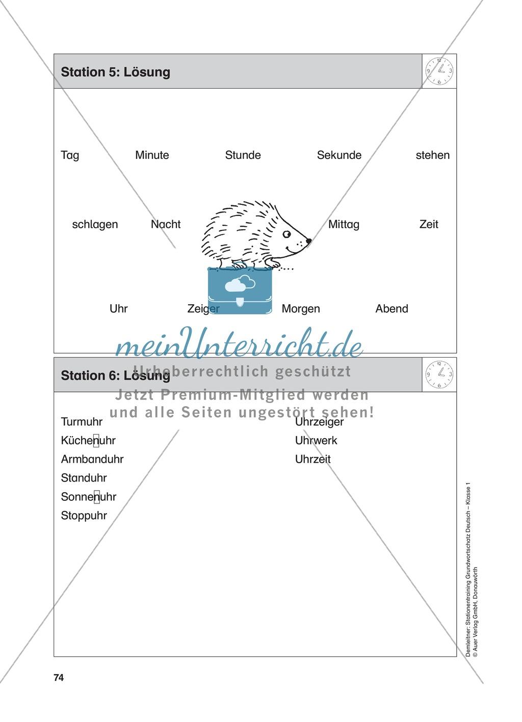 Stationentraining Uhr: Arbeitsblätter mit Lösungen, Diktat Preview 6