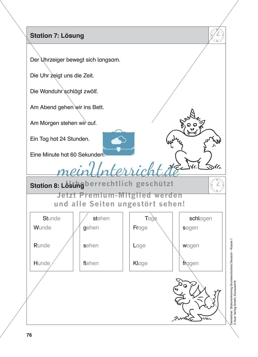 Stationentraining Uhr: Arbeitsblätter mit Lösungen, Diktat Preview 8