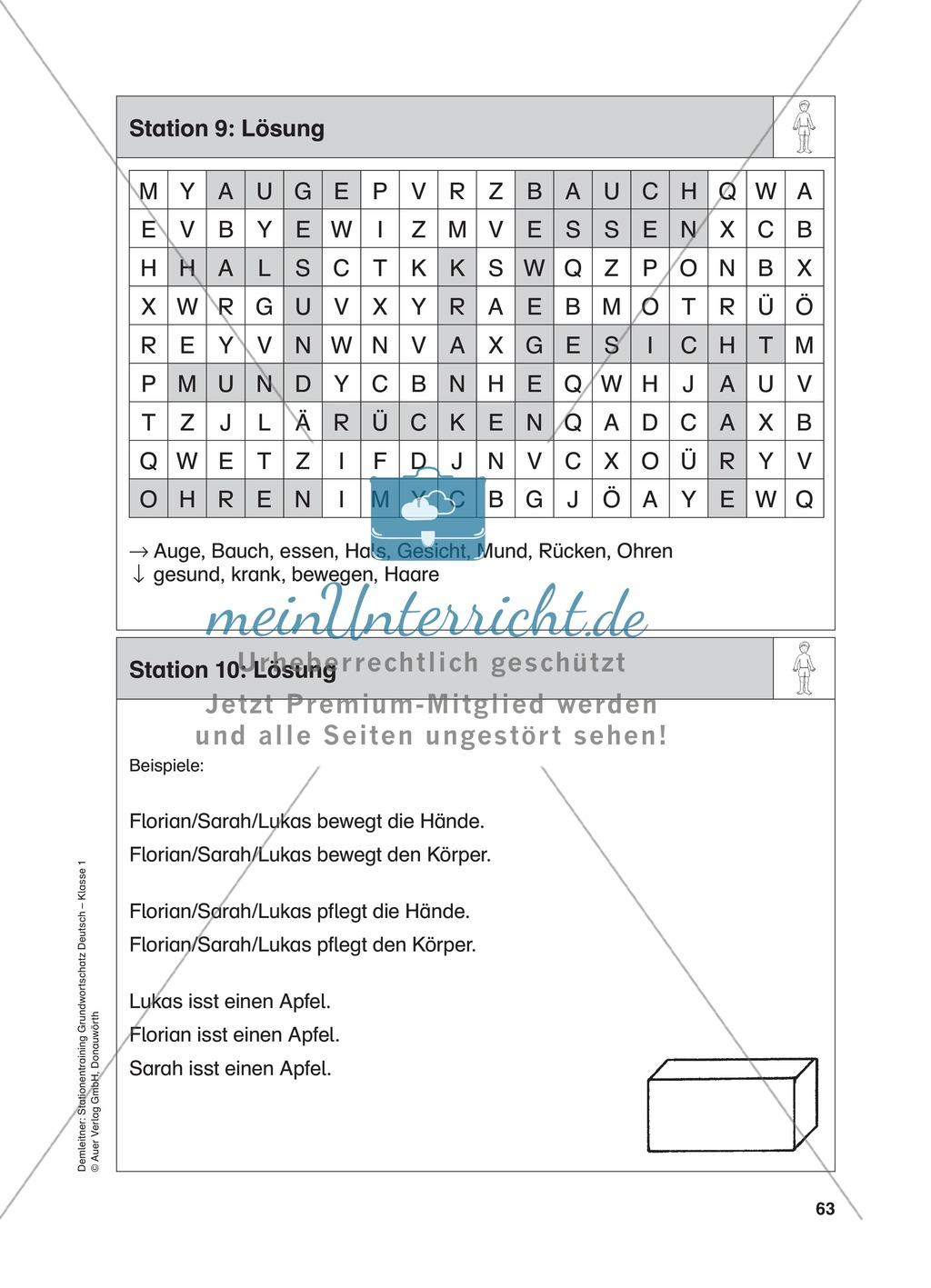 Stationentraining Körper: Arbeitsblätter mit Lösungen, Diktat Preview 10