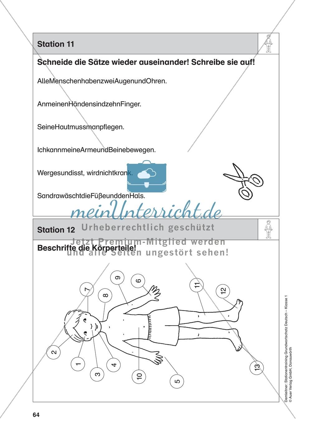 Stationentraining Körper: Arbeitsblätter mit Lösungen, Diktat Preview 11