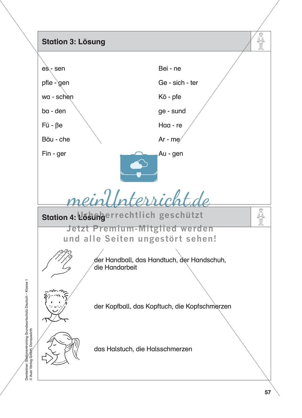 Stationentraining Körper: Arbeitsblätter mit Lösungen, Diktat ...