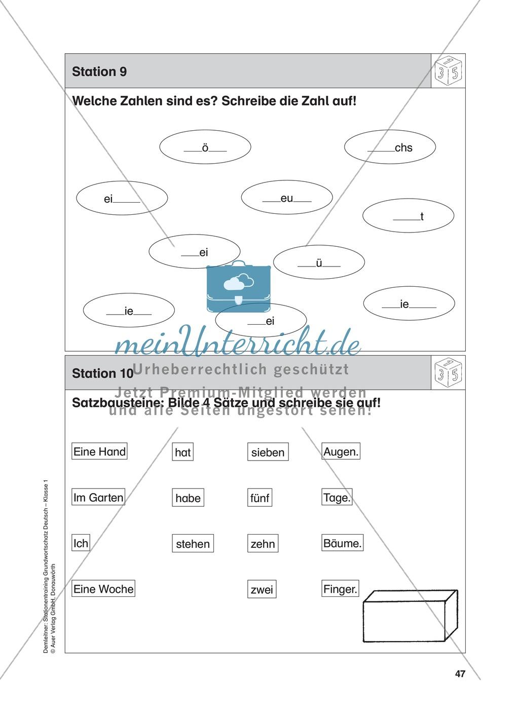 Stationentraining Zahlen: Arbeitsblätter mit Lösungen, Diktat Preview 9