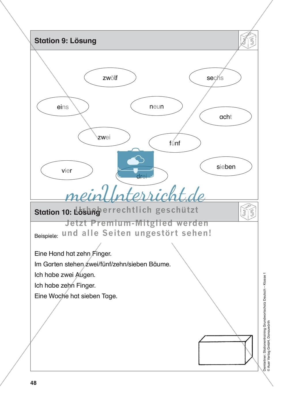 Stationentraining Zahlen: Arbeitsblätter mit Lösungen, Diktat Preview 10