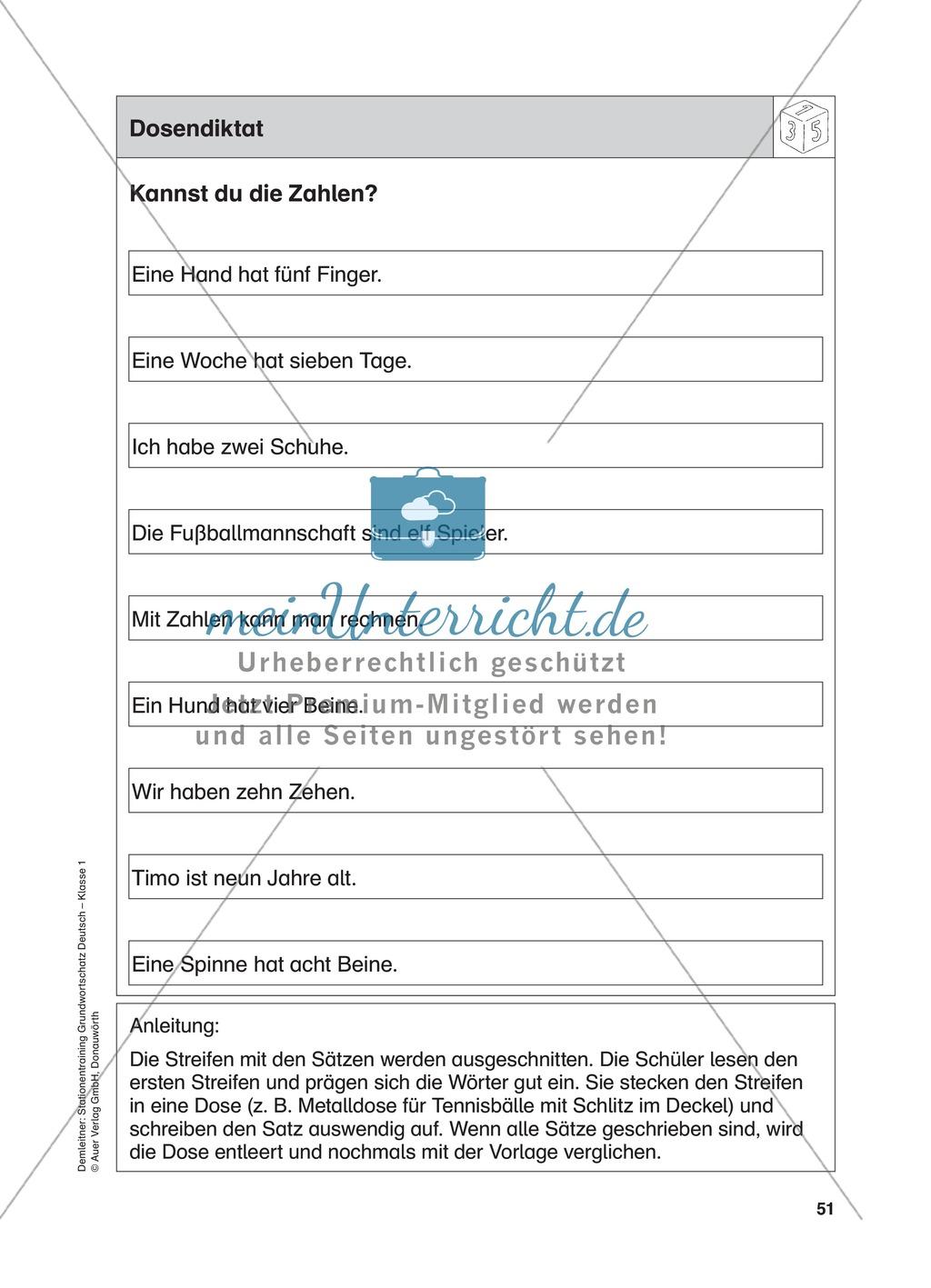 Stationentraining Zahlen: Arbeitsblätter mit Lösungen, Diktat ...