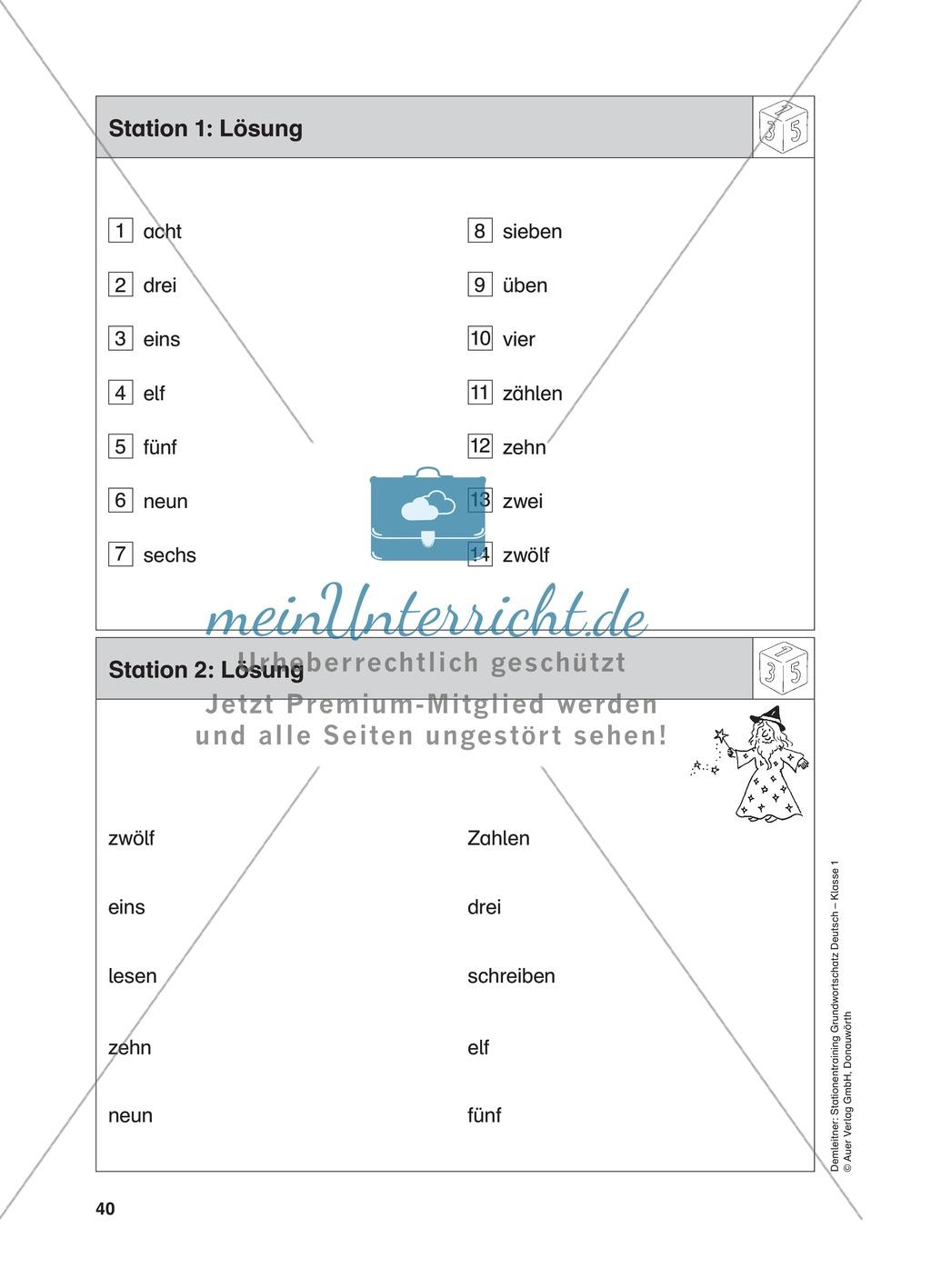 Stationentraining Zahlen: Arbeitsblätter mit Lösungen, Diktat Preview 2