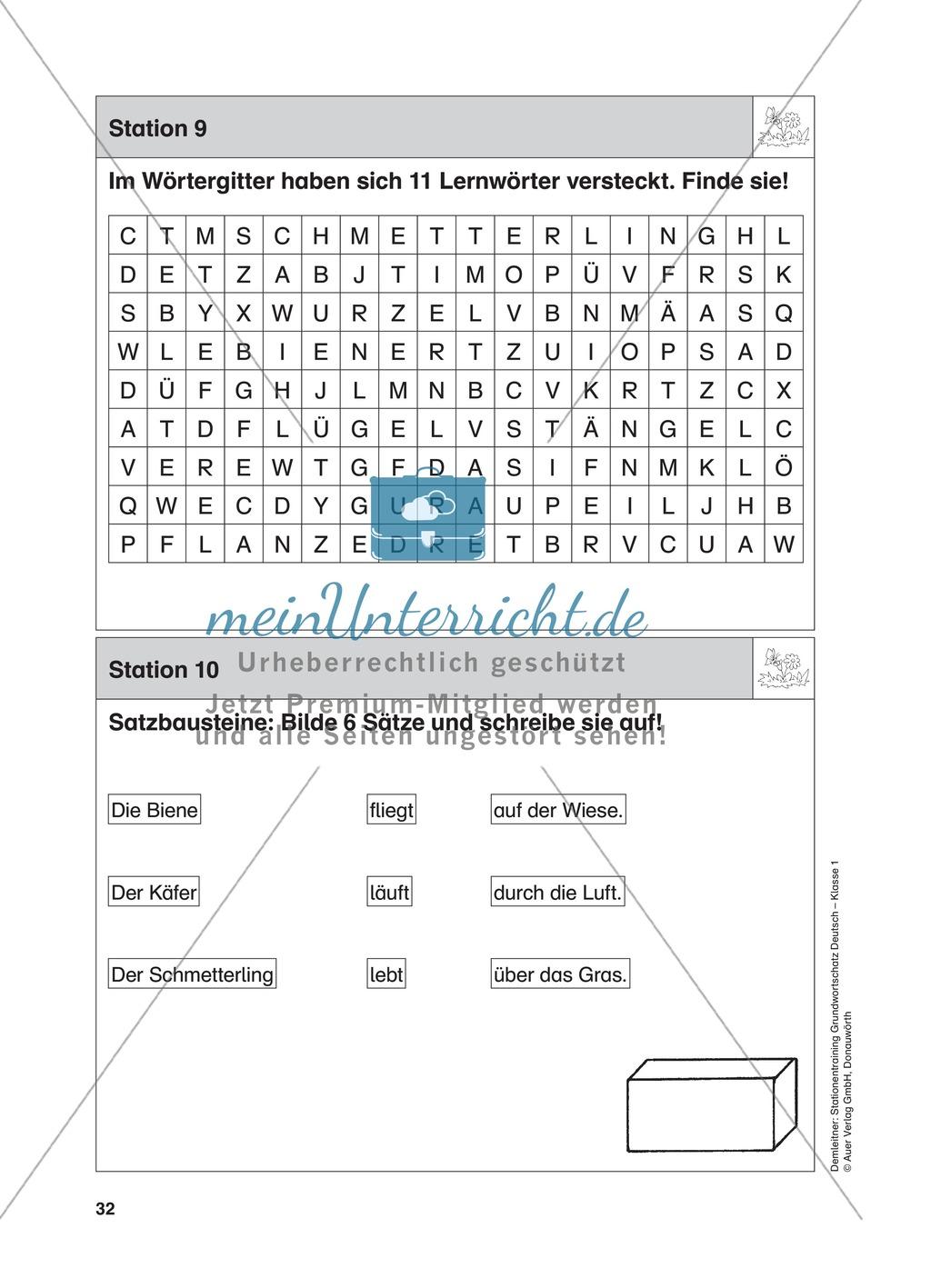 Stationentraining Wiese: Arbeitsblätter mit Lösungen, Diktat Preview 9
