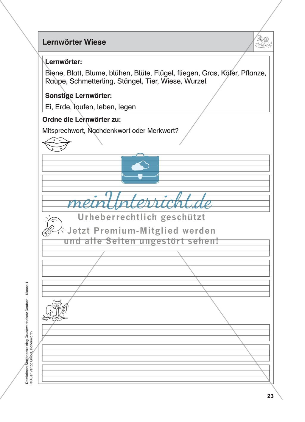 Stationentraining Wiese: Arbeitsblätter mit Lösungen, Diktat ...