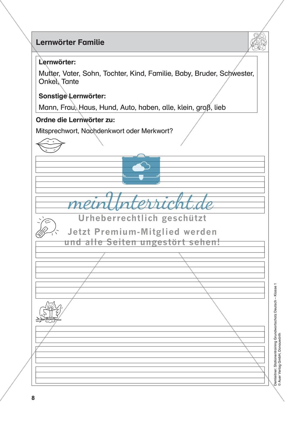 Stationentraining Familie: Arbeitsblätter mit Lösungen, Diktat Preview 0