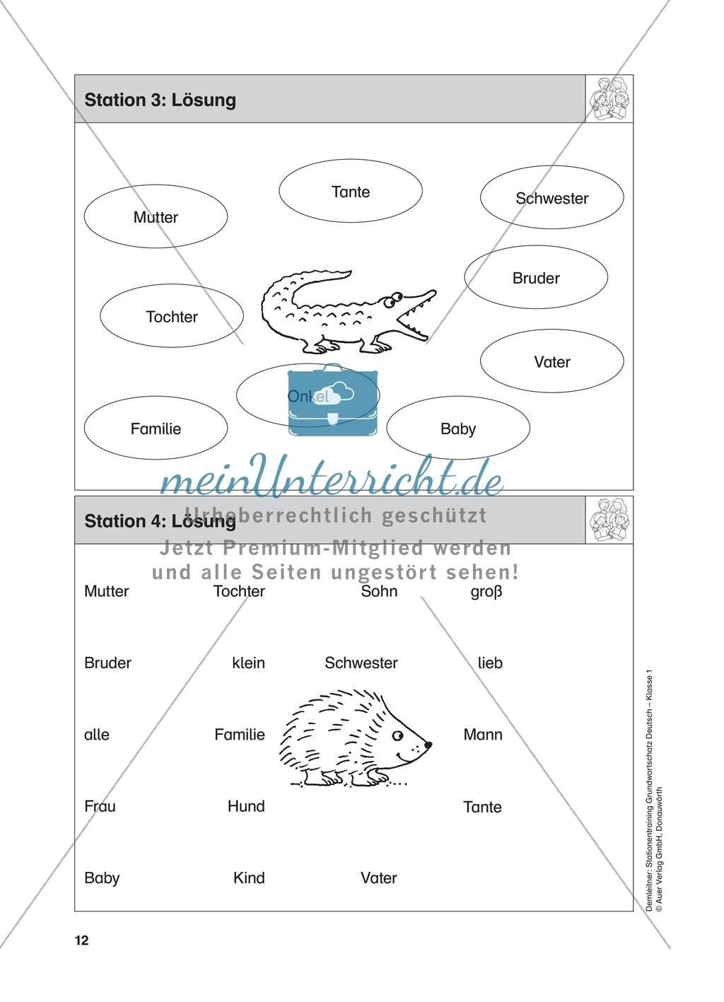 Stationentraining Familie: Arbeitsblätter mit Lösungen, Diktat Preview 4
