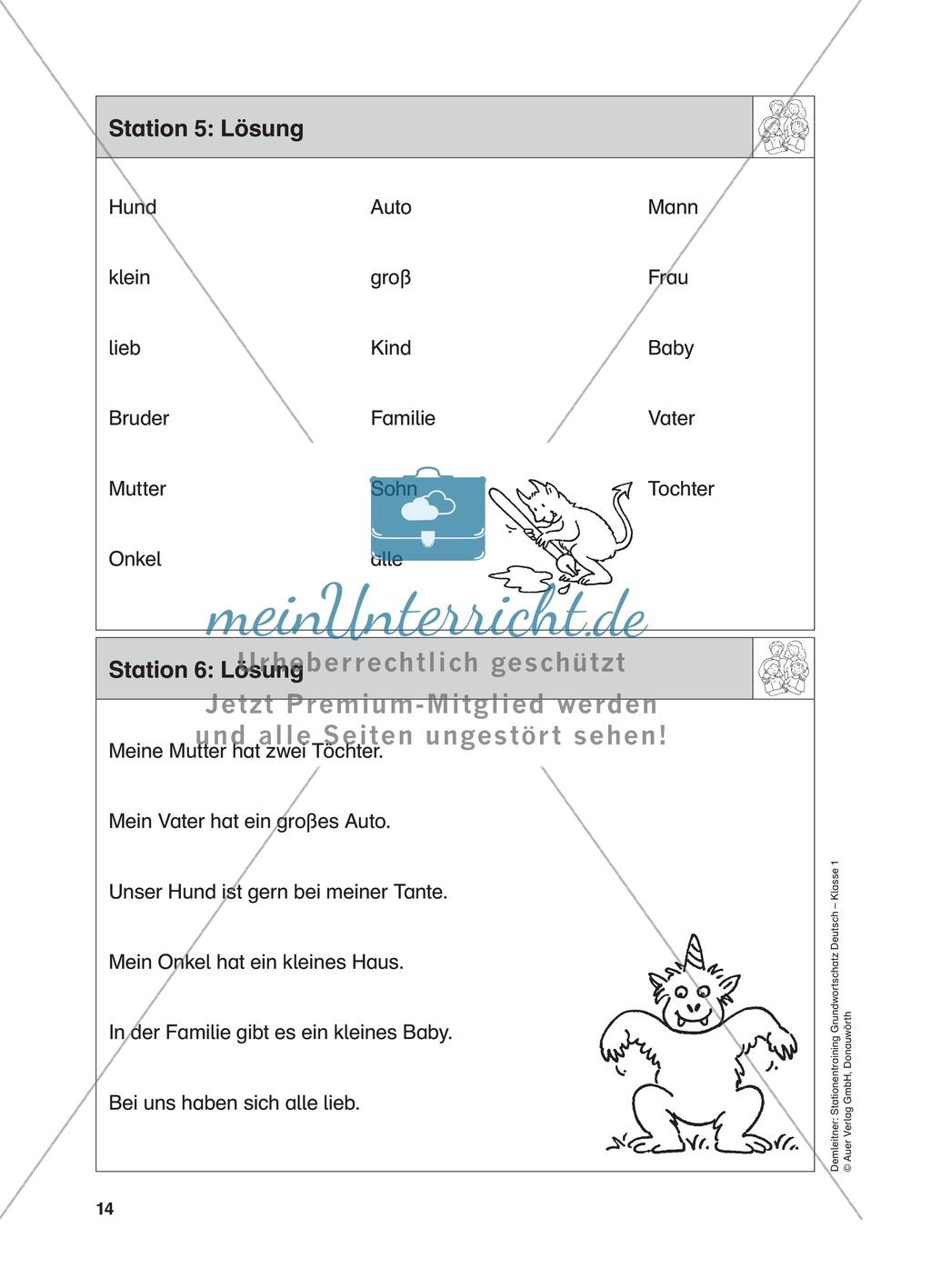Stationentraining Familie: Arbeitsblätter mit Lösungen, Diktat Preview 6