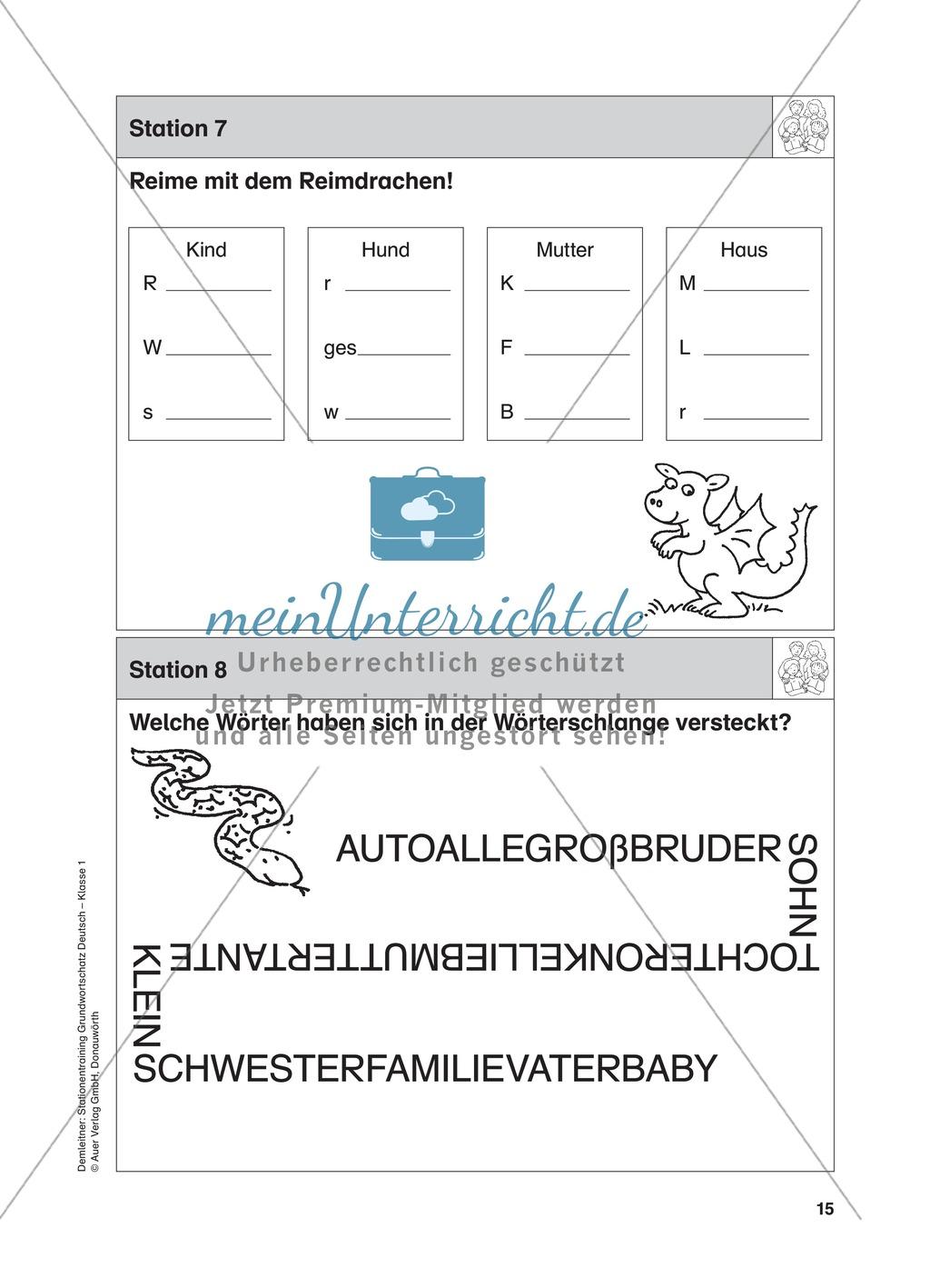 Stationentraining Familie: Arbeitsblätter mit Lösungen, Diktat Preview 7