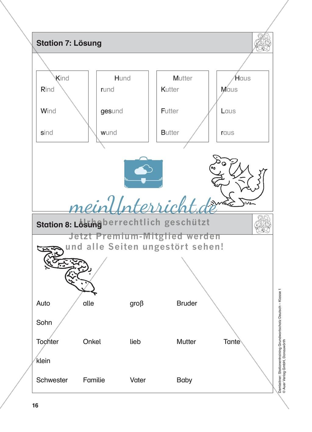 Stationentraining Familie: Arbeitsblätter mit Lösungen, Diktat Preview 8