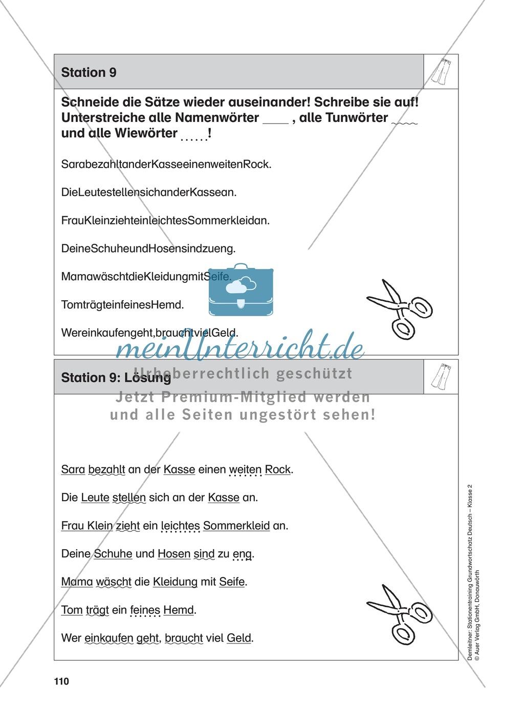 Stationentraining Kleidung: Arbeitsblätter mit Lösungen, Diktat Preview 9