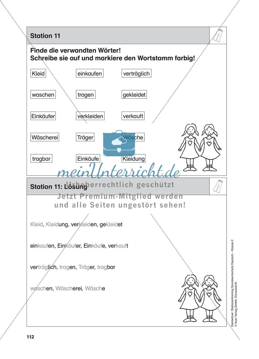 Stationentraining Kleidung: Arbeitsblätter mit Lösungen, Diktat Preview 11