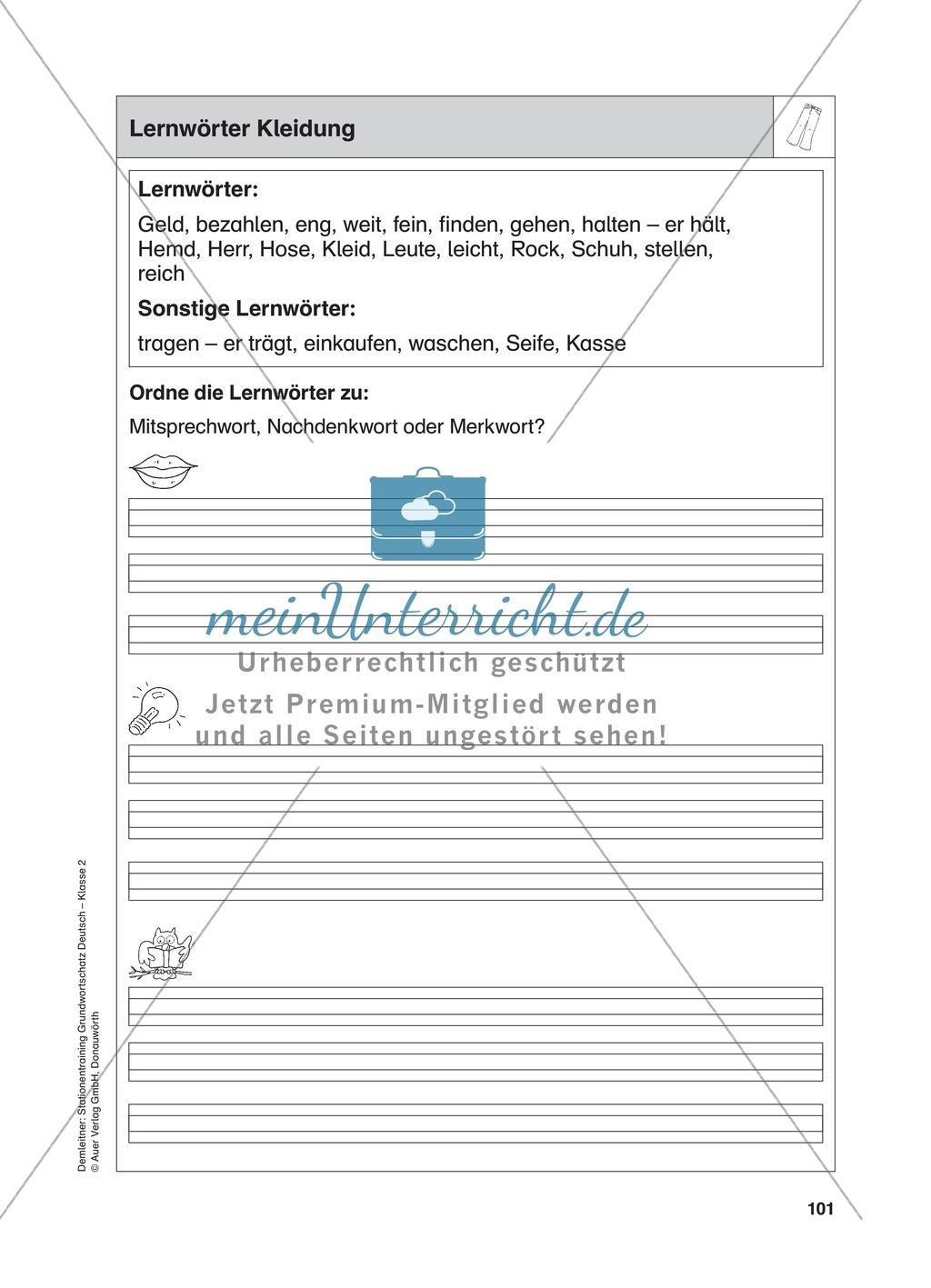 Stationentraining Kleidung: Arbeitsblätter mit Lösungen, Diktat Preview 0