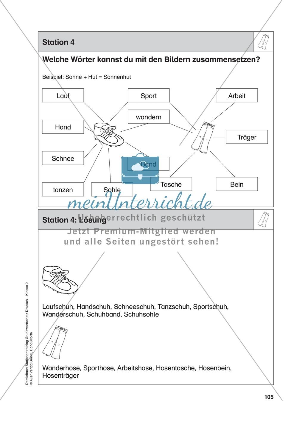 Stationentraining Kleidung: Arbeitsblätter mit Lösungen, Diktat Preview 4