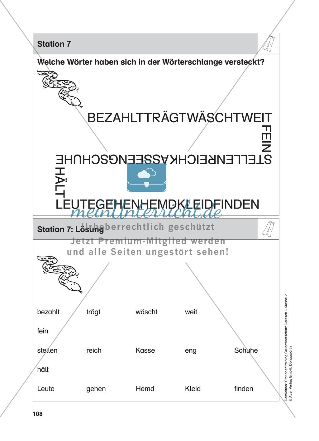 Stationentraining Kleidung: Arbeitsblätter mit Lösungen, Diktat Preview 7