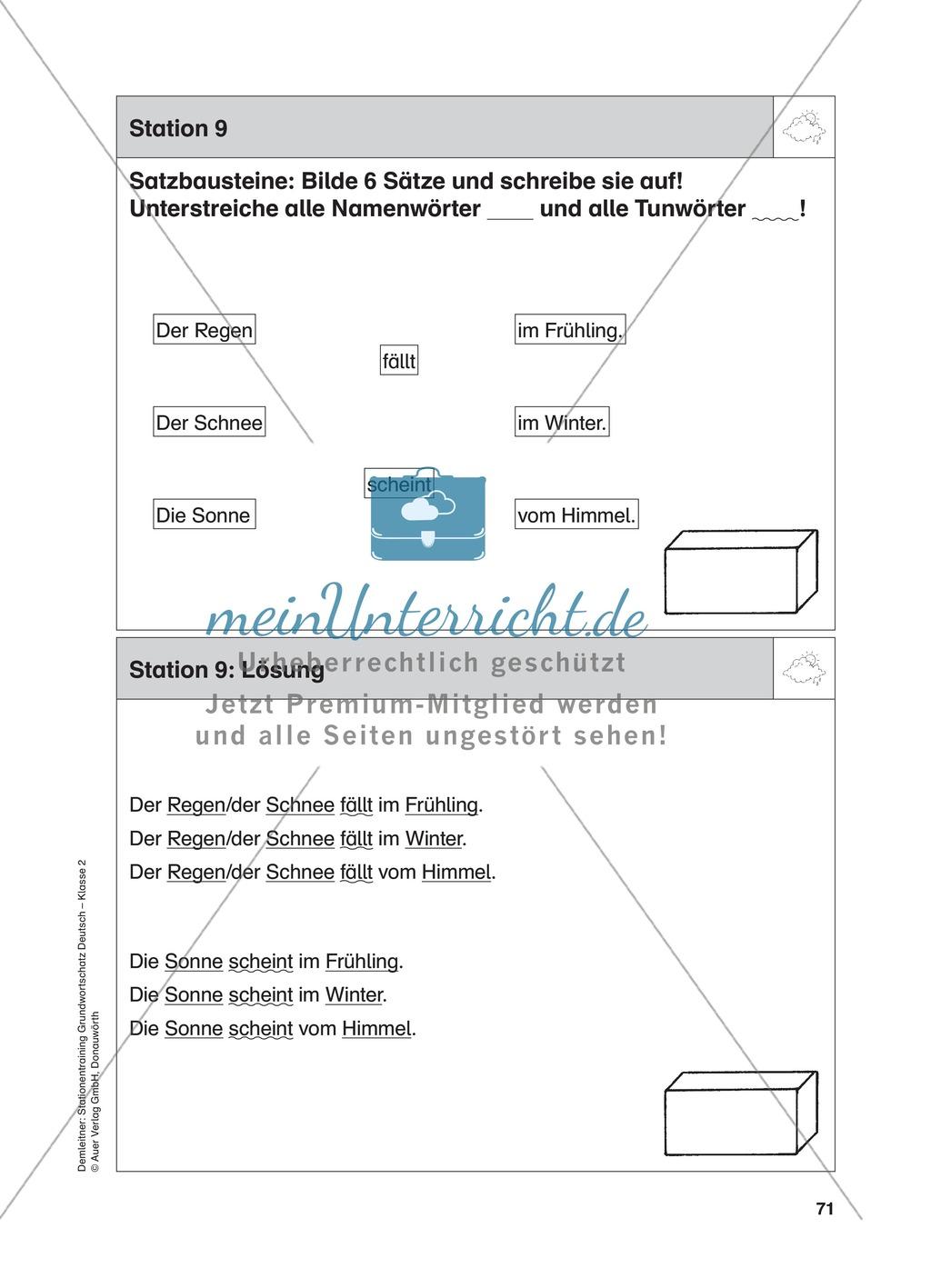 Stationentraining zum Wetter: Arbeitsblätter mit Lösungen, Diktat Preview 9