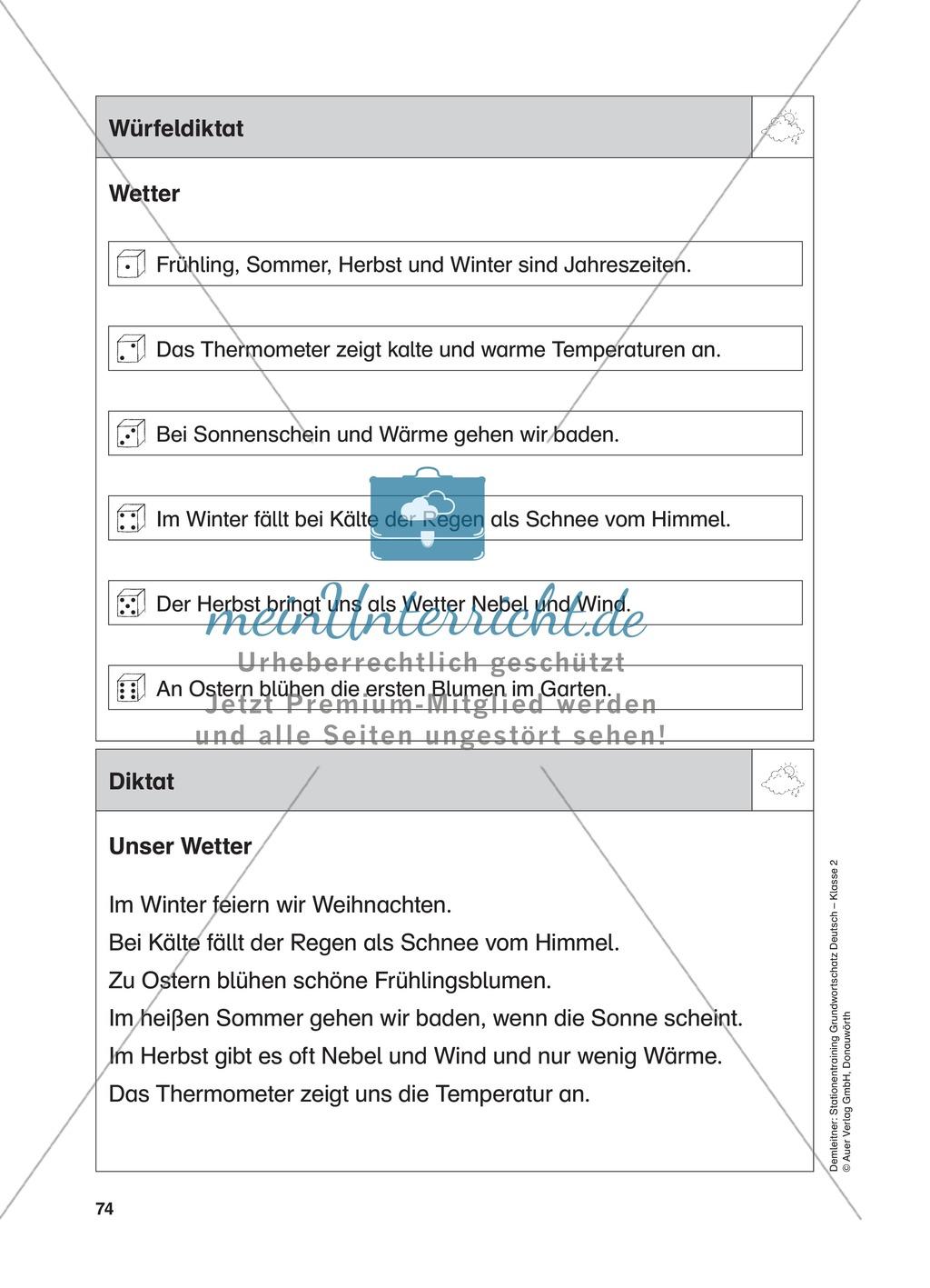 Stationentraining zum Wetter: Arbeitsblätter mit Lösungen, Diktat Preview 12