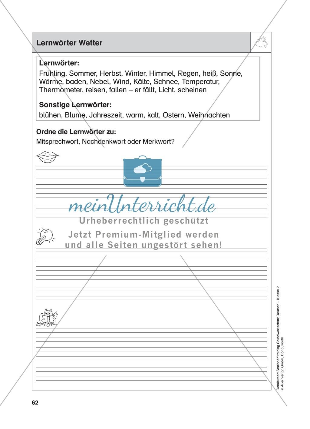 Stationentraining zum Wetter: Arbeitsblätter mit Lösungen, Diktat Preview 0