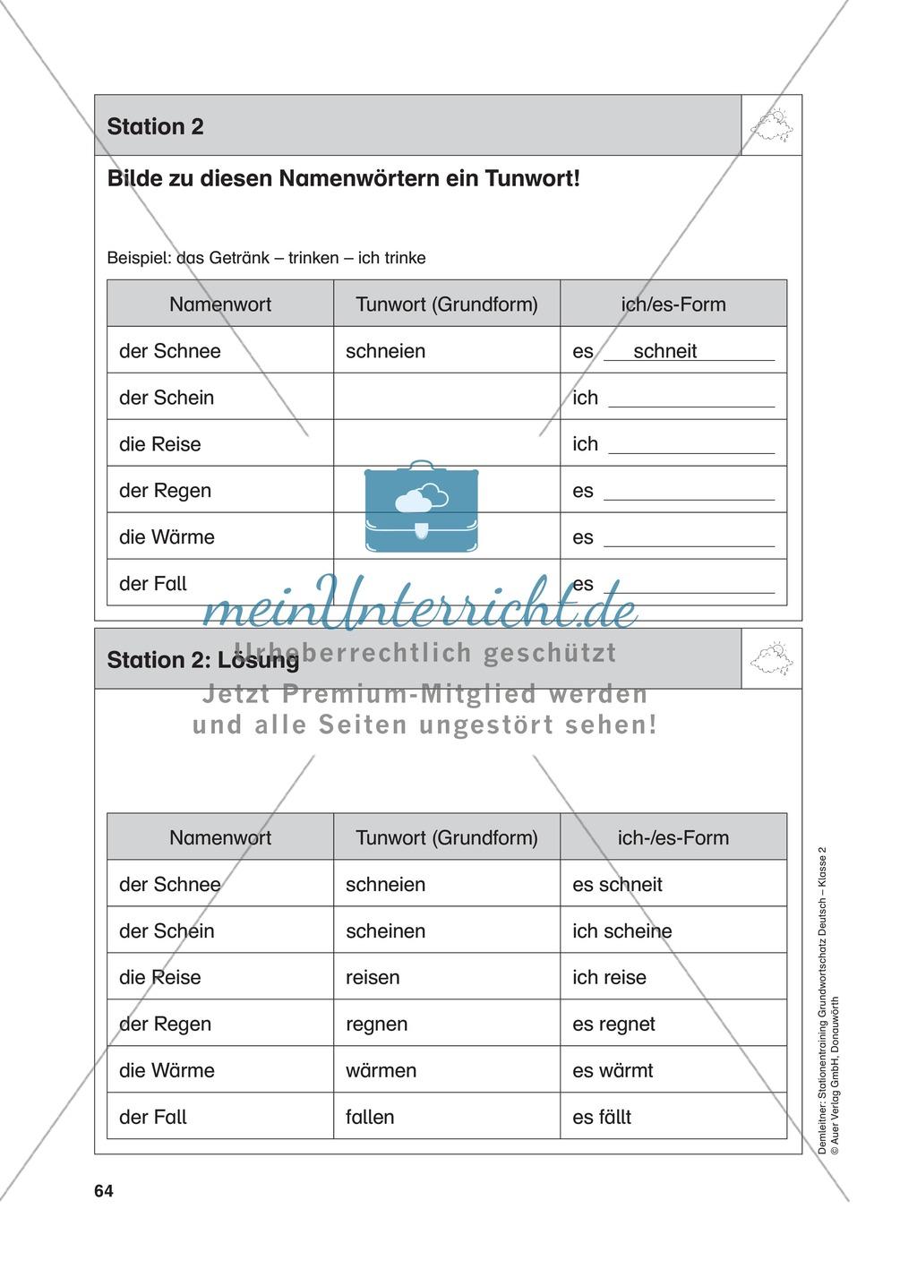 Stationentraining zum Wetter: Arbeitsblätter mit Lösungen, Diktat Preview 2