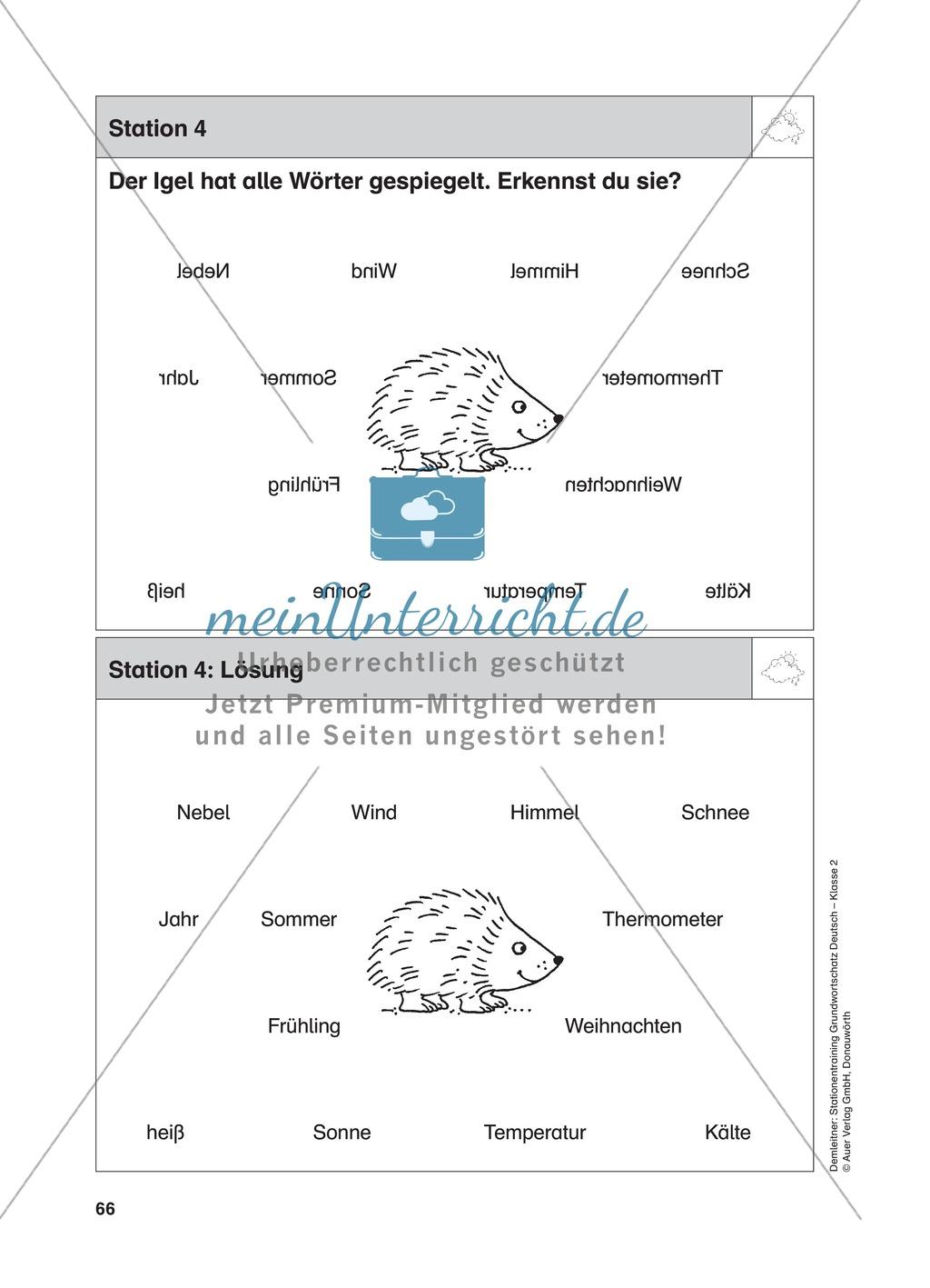 Stationentraining zum Wetter: Arbeitsblätter mit Lösungen, Diktat Preview 4