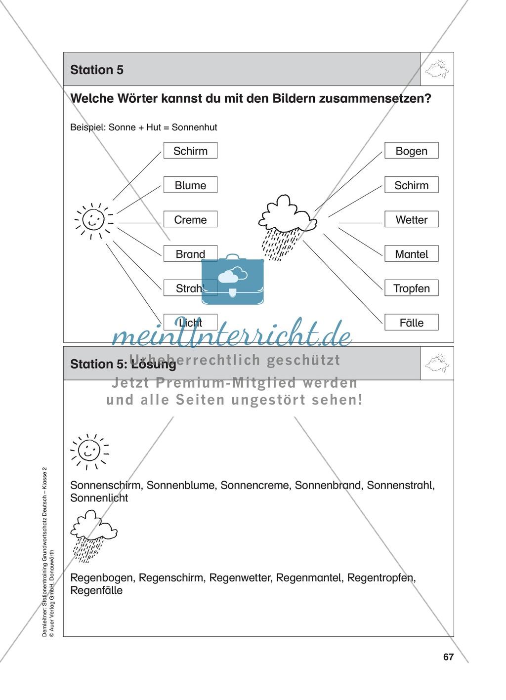 Stationentraining zum Wetter: Arbeitsblätter mit Lösungen, Diktat Preview 5