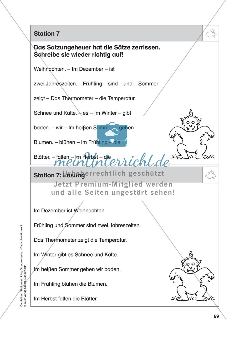 Stationentraining zum Wetter: Arbeitsblätter mit Lösungen, Diktat Preview 7