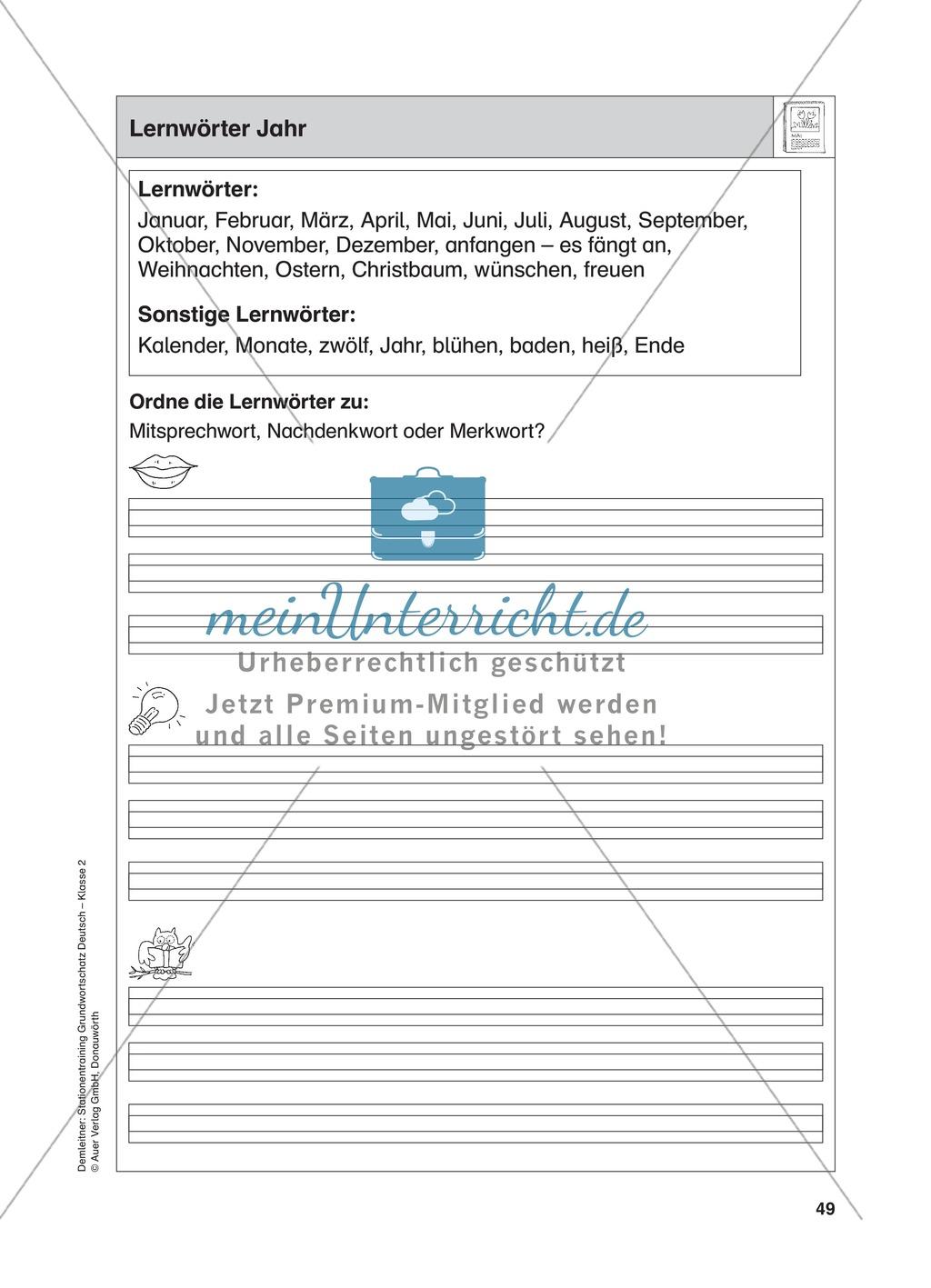 Stationentraining Jahr: Arbeitsblätter mit Lösungen, Diktat Preview 0