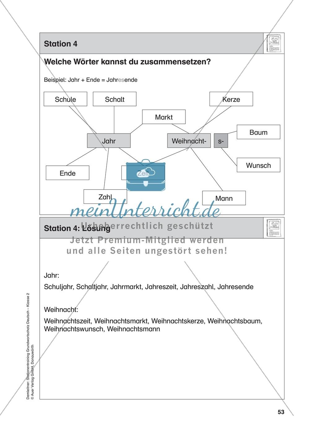 Stationentraining Jahr: Arbeitsblätter mit Lösungen, Diktat Preview 4