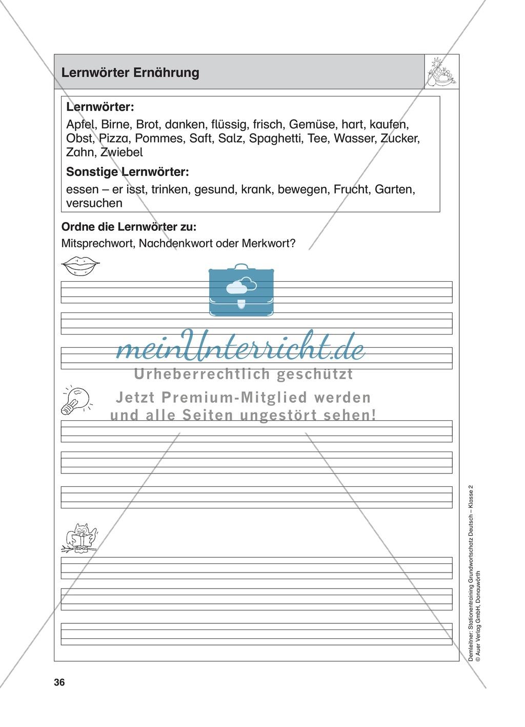 Stationentraining Ernährung: Arbeitsblätter mit Lösungen, Diktat Preview 0